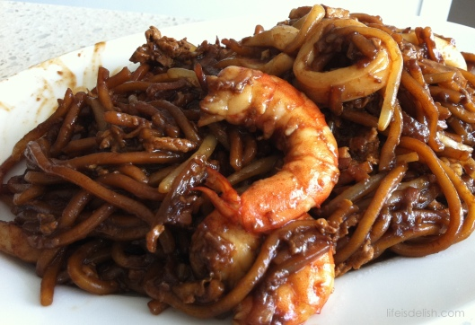 Noodles cooked Char Kway Teow Style